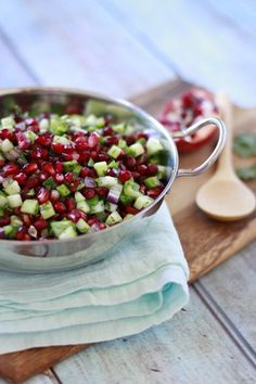 Pomegranate Salsa -- A Seasonal Salsa Recipe for Winter :: pomegranate arils, cilantro, jalapeño, red onion, lime, diced cucumber