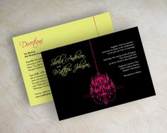 handmade wedding programs with chandaliers | Custom wedding invitations, modern, contemporary chandelier silhouette ...