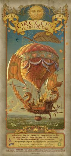 Steam Punk Couture Illustration poster for Oregon Country Fair 2010 by Corey and Catska Ench Steampunk Kunst, Steampunk Airship, Dieselpunk, Steampunk Diy, Steampunk Fashion, Posters Vintage, Retro Poster, Oregon Country Fair, Kunst Poster