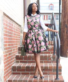 Look 5: Priscilla Corporate Outfits For Women, White Button Down Shirt, Rose Dress, Green Print, Flare Dress, Pink Roses, Fit And Flare, Short Dresses, High Neck Dress