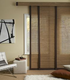 Sliding Panel Track Blinds are designed for sliding doors, over-sized windows or above-the-door installation. Kitchen Sliding Doors, Sliding Door Curtains, Patio Door Curtains, Drapes Curtains, Balcony Doors, Window Drapes, Sliding Window Treatments, Window Coverings, Bamboo Panels