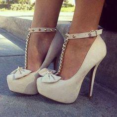 Elegant Bowknot Ankle Strap Platform Heels #HeelShoes #fashion