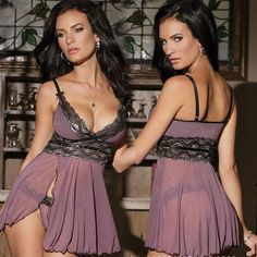 ef2a13dc47 Sexy Women Spaghetti Strap See Through Pleated Lingerie Dress Lace  Babydoll
