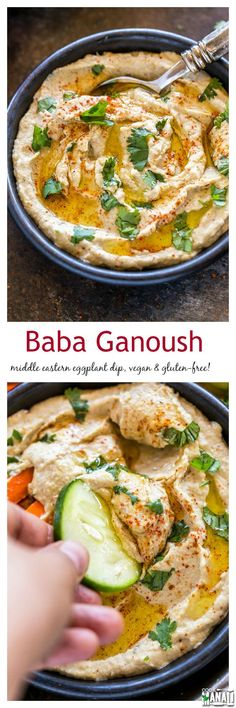 Baba Ganoush is a popular Middle Eastern eggplant dip. Enjoy it with fresh vegetables or pita bread. Vegan & gluten-free! Find the recipe on www.cookwithmanali.com