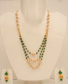 Green beads with pearls