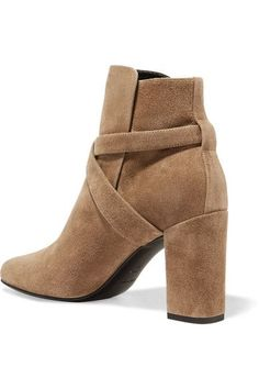 Saint Laurent - Babies Buckled Suede Ankle Boots - Taupe - IT39