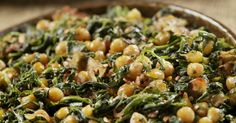 Sautéed Chic Peas With Spinach And Bacon