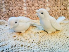 Porcelain Love Birds, Pair of Porcelain Birds, Cottage Chic Birds, High Gloss Porcelain Birds, Vintage White Bird Figurines, Made in Japan by BeautyMeetsTheEye on Etsy