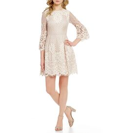 Eliza J Scalloped Lace Bell Sleeve Fit and Flare Dress Metallic Cocktail Dresses, Womens Cocktail Dresses, Tan Dresses, Stunning Women, Casual Wedding, Scalloped Lace, Fit And Flare, Bell Sleeves, Party Dress