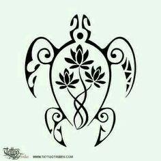 Tribal turtle and lotus tattoo idea