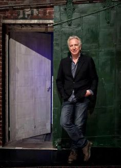 "Alan Rickman outside the back door of the Golden Theater in which he was staring in the play ""Seminar"". late 2011 or early 2012"