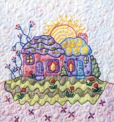 Periwinkle Lane BOM – Block 4 Embroidery Pattern Periwinkle Lane – Block 4 Embroidery Pattern by Black Cat Creations – Jackie Theriot. BOM embroidery and crayon pattern of two houses and a garden. Hand Embroidery Patterns Flowers, Hand Embroidery Projects, Embroidery Sampler, Hand Embroidery Stitches, Hand Embroidery Designs, Vintage Embroidery, Embroidery Supplies, Inktense Blocks, Advanced Embroidery