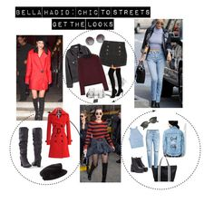 """""""Bella Hadid Style Inspiration:LOOK4LESS"""" by stylishbysamantha on Polyvore featuring WithChic, Forever 21, Venus, Burberry, Pierre Balmain, RED Valentino, Merona, Dolce&Gabbana, Ray-Ban and Honey Punch"""