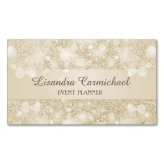 Mocha Cream sparkle glitter print design for the Event and Wedding Planner, This Business Card is both trendy and beautiful. Sure to Impress prospective clients. Customize the front and back text with your information.