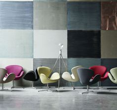 Swan Lounge Chair In Different Colours And Fabric, Designed By Arne Jacobsen