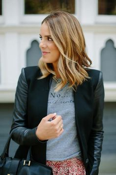 bronde, medium length with messy waves - love it all!