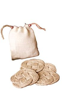 Set of Four Woven Knot Coasters with Bag  Natural ** You can get more details by clicking on the image.