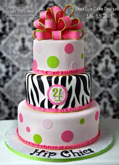 "Pretty zebra cake for a little girl's birthday. - madelyn's third bday cake was modeled to look like the second tier with ""zebra"" cake on the inside!"