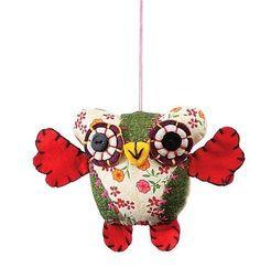 "Creative Co-op Green Fabric Owl Christmas Tree Ornament - 5.5"" long #CreativeCoop"