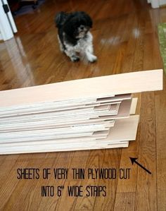 "Basement wall idea Strips of plywood cut into 6"" strips for shiplap 