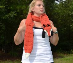 Crocheted Fox Scarf with yellow eyes by TheSepiaPuppy on Etsy, $90.00