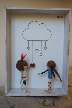 Needle felted figurines fairies in 3D frame  I LOVE YOU by DORIMU, $142.00