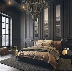 Dark bedroom themes help to center the mind, creating an atmosphere of relaxatio. Dark bedroom the Bedroom Black, Dream Bedroom, Home Bedroom, Mansion Bedroom, Baroque Bedroom, Bedroom Furniture, Charcoal Bedroom, Bedroom 2017, Fancy Bedroom