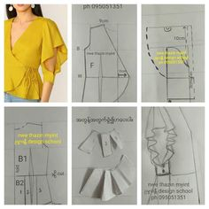 Corset Sewing Pattern, Dress Sewing Patterns, Blouse Patterns, Clothing Patterns, Dress Neck Designs, Blouse Designs, Sewing Sleeves, Sewing Blouses, Fashion Sewing