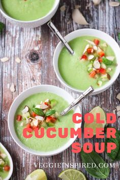 Cold Cucumber Soup is a cool and creamy, dairy free soup that's perfect for summer. So refreshing, hydrating, and it's all made easily in a blender. #vegan #glutenfree Soup Recipes, Whole Food Recipes, Vegetarian Recipes, Healthy Recipes, Vegan Vegetarian, Vegan Food, Chili Recipes, Lunch Recipes, Food Food