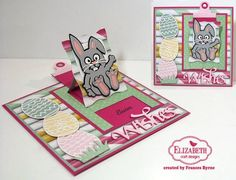 Frances Byrne shared her March Pop it Ups Designer Challenge with us! Frances created a Hanging Charm Pull Tab card with Lucky the Rabbit (cut from Soft Finish Cardstock in Rich Black, Silver Gray, Pink Peach, and White). Frances used our Happy Easter peel-off sticker, Joset Designs' Easter Eggs, Suzanne Cannon A Way With Words' Wishes, and Els van de Burgt Studio's Tags & More 8 Lattice and Stitched Squares. Find all the supplies here: https://www.elizabethcraftdesigns.com/