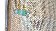 Simple Blue Glass Bead Earrings by donidoni on Etsy, $15.00