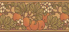 Craftsman Style Floral Wallpaper | Apple Blossom Frieze in Sienna | Bradbury & Bradbury