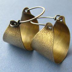 Bronze Hoop Earrings With Sterling Silver - Sand Textured Basket Hoops - Mixed Metal Jewelry