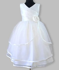 Girls white formal party dress in satin & organza. For weddings, flower girl, evening wear and special occasions. White Flower Girl Dresses, White Dress, Tea Length Skirt, Anna Dress, White Gowns, White Trim, Dress Party, Special Occasion Dresses, Formal Dresses