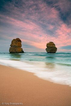 Sunset at Gibsons Steps Beach. Great Ocean Road, Victoria, Australia