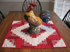 Log Cabin Quilted Table Topper by Quiltedhearts5 on Etsy, $38.00