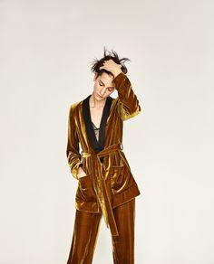 c09bb6ae07b Zara Mustard Velvet Suit Gold Velvet Dress