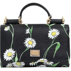 DOLCE & GABBANA Daisy Printed Leather Phone Clutch (1,400 SGD) ❤ liked on Polyvore featuring bags, handbags, clutches, chain strap purse, daisy handbag, leather handbags, chain strap handbag and genuine leather purse