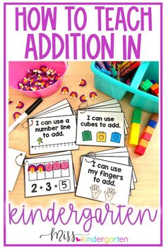 Teach addition in kindergarten with these fun ideas and worksheets. Students will love finding partners of tenm, sums and using manipulatives. These tasks cards are great for reminding students how they can add using different strategies. Place in math centers or use during independent work times. Miss Kindergarten, Kindergarten Math Activities, Kindergarten Classroom, Classroom Themes, Preschool Ideas, Teaching Schools, Teaching Math, Teaching Ideas, Math Strategies