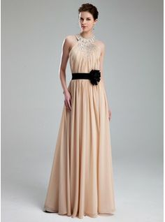 A-Line/Princess Halter Floor-Length Chiffon Charmeuse Prom Dress With Ruffle Beading Flower(s) (018019734) - JenJenHouse
