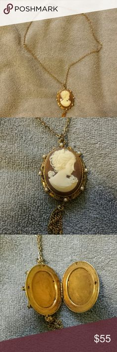 Vintage cameo necklace Cameo necklace has a 24-inch chain with an o ring clasp. Cameo pendant opens in order to place pictures inside. Cameo itself features small little faux pearls around the actual cameo and a small golden tassel at the bottom. Pendant belongs to my mother and was hardly ever worn. Vintage and in very good condition. To my knowledge it's at least 50 or 60 years old Jewelry Necklaces