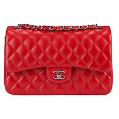 Pre-Owned Chanel Red Jumbo Classic Double Flap Bag with Silver... ($4,995) ❤ liked on Polyvore featuring bags, handbags, red, pre owned handbags, strap purse, lambskin leather handbags, chanel and colorful handbags