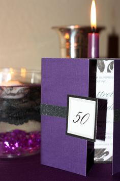 blingy purple 50th birthday party@Maria Piscitelli..love how thats designed!