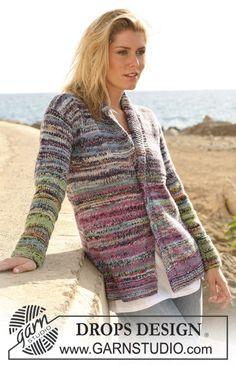 Casaco DROPS com gola tricotado em fio duplo Fabel – Tamanhos S-XXXL ~ DROPS Design