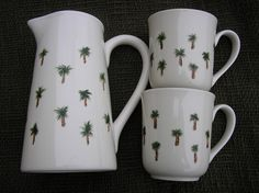Palm Tree Pitcher and Coffee Cups Hand by LisasPaintedCrafts, $25.00