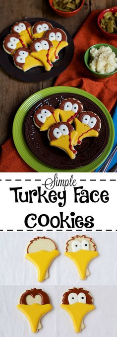 Looking for simple cookies to make for Thanksgiving? If so, you should make these simple turkey face cookies. Sugar cookies decorated with roya icing. Turkey Cookies, Fall Cookies, Cake Mix Cookies, Iced Cookies, Cute Cookies, Holiday Cookies, Sugar Cookies, Thanksgiving Cookies, Thanksgiving 2016