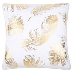 Bring the beauty and versatility of the Flynn Foil Print Feather Fill Throw Pillow to your sofa, bed, or chair. Dressed in a timeless and elegant hue, this decorative throw pillow features a feather fill for lasting comfort. Gold Decorative Pillows, Gold Throw Pillows, Gold Feathers, Feather Print, Decorative Accessories, White Gold, Fill, Sofa Bed, Hue
