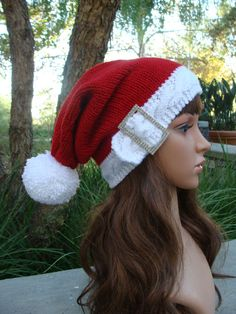 Bling Santa Cable Band Knit Hat with Pom-pom, Santa Hat, Size Teen/Adult by IKnit4aCure on Etsy