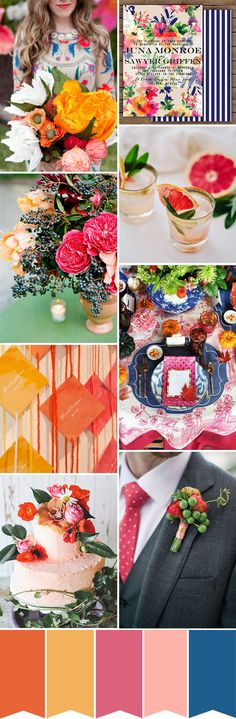 Color pop! Eclectic Orange Pink and Blue Wedding Colour Palette | www.onefabday.com
