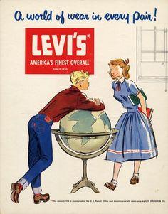 Early Levi's advert Retro Advertising, Retro Ads, Vintage Advertisements, Vintage Prints, Vintage Posters, Retro Vintage, Vintage Jeans, Vintage Outfits, Vintage Fashion